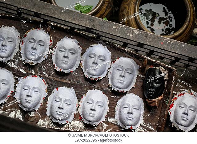 Paper mache masks being made at the Artist's House (Baan Silapin) located on a canal on the Thonburi side of Bangkok, Thailand