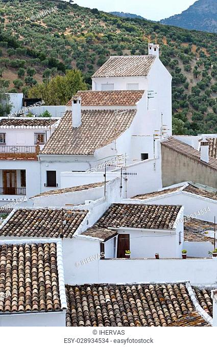 Traditional White houses in Zahara de la Sierra, Spain. This village is part of the pueblos blancos -white towns- in southern Spain Andalusia region