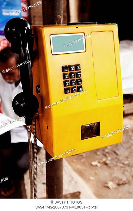 Close-up of a pay phone, Mysore, Karnataka, India