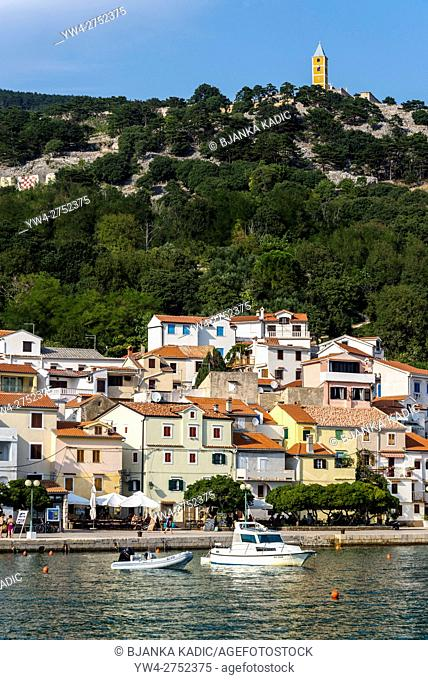 View of the town and church tower on top of the hill, Baska, Island of Krk, Croatia
