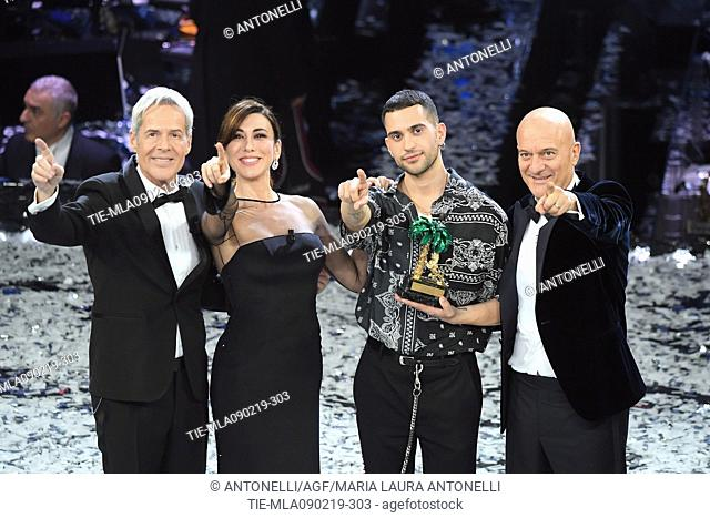 Mahmood, winner of 69th Festival of the Italian Song. Mahmood with Claudio Baglioni, Virginia Raffaele, Claudio Bisio. Sanremo, Italy 10 Febr 2019