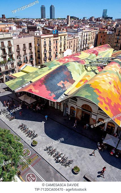 Spain, Catalonia, Barcelona, Santa Caterina market, View of the Santa Caterina Market roof