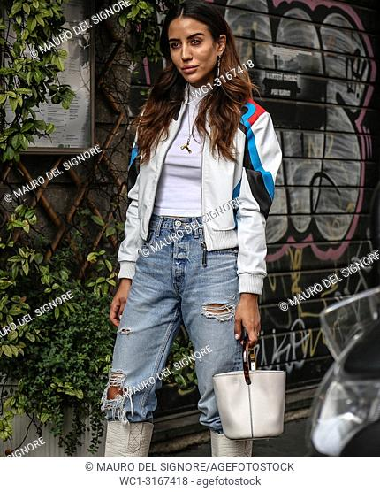 MILAN, Italy- September 19 2018:Tamara Kalinic on the street during the Milan Fashion Week
