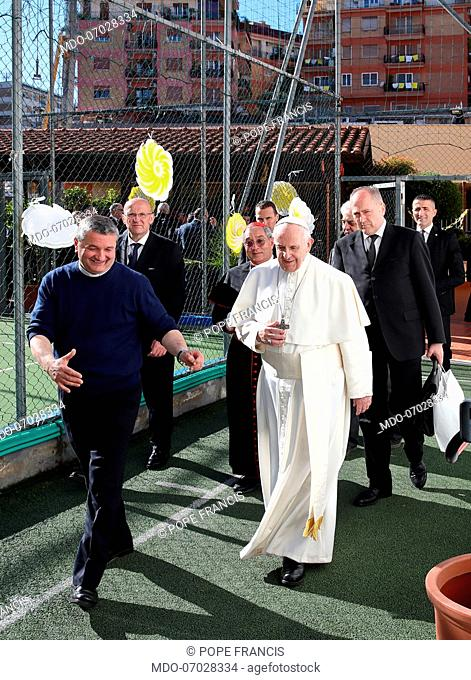 Pope Francis pastoral visit to the roman parish of St Julius Pope. Rome (Italy), April 7th, 2019