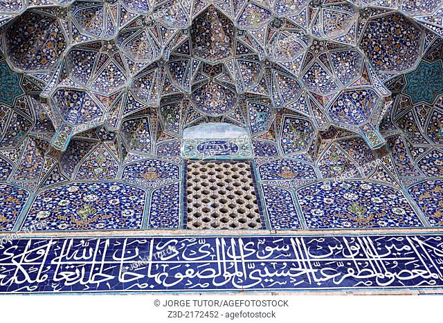 Ceiling of a gate to enter Imam Mosque. Isfahan. Iran