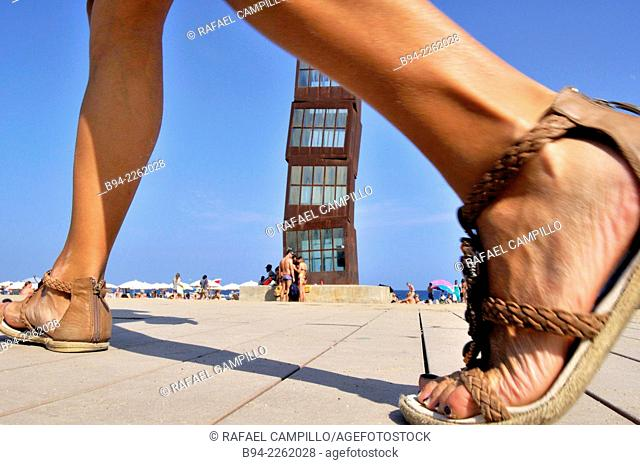 Sculpture 'The wounded star' L'estel ferit by Rebecca Horn at Barceloneta beach, 1992. Barcelona, Catalonia, Spain