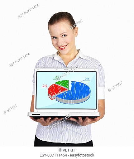 woman holding notebook with pie chart on a white background