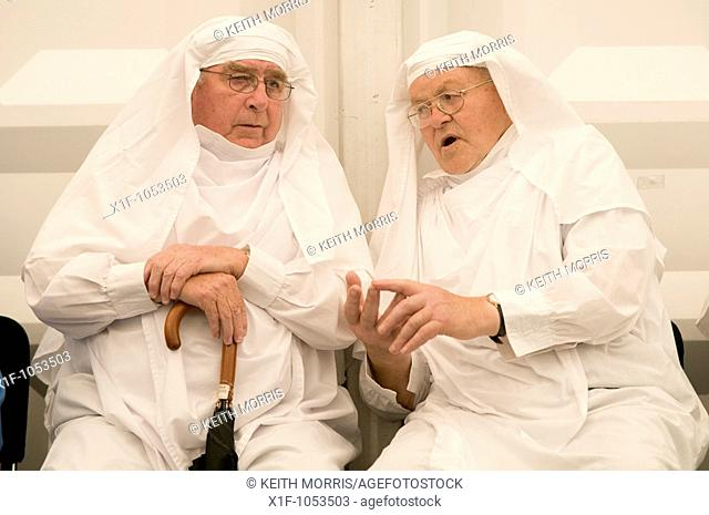 Members of The Gorsedd of the Bards getting ready for the ceremony at the National Eisteddfod of Wales, Bala, Gwynedd, August 2009