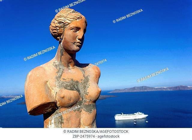 Female torso Aphrodite, statue, Thira, Santorini, Cyclades, Greece