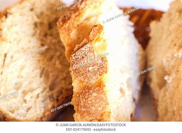 Rustic Bread slices on basket. Macro shot with sunlight