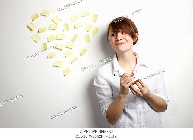 Women with Post-It Heart