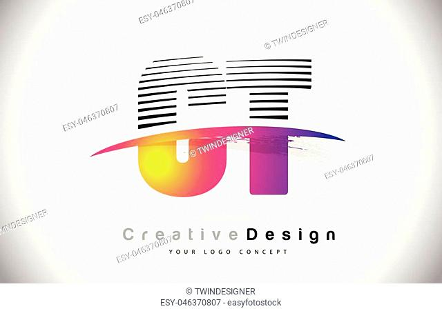 CT C T Letter Logo Design With Creative Lines and Swosh in Purple Brush Color Vector Illustration
