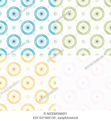 Abstract seamless repeat design with flowing lines ideal as a background in four color variations