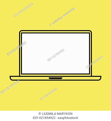 Laptop design template elements for web and mobile applications. Stroke thin line flat minimalistic style. Vector illustration eps10