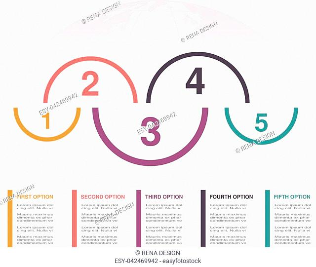 Vector infographic design with five business steps and globe. Workflow layout, annual report, web design, diagram. Marketing template with 5 options