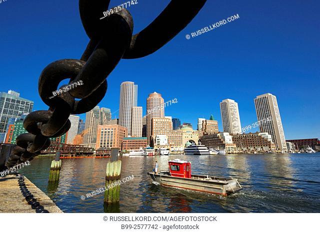 Boston Whaler Fan Pier Harborwalk Rowes Wharf Downtown Skyline Inner Harbor South Boston Massachusetts Usa