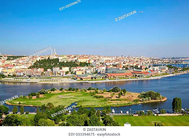 The view from the viewpoint on the Hill of Pierre Loti in the district of Eyup to the Golden Horn with the Bahariye islands, Istanbul, Turkey