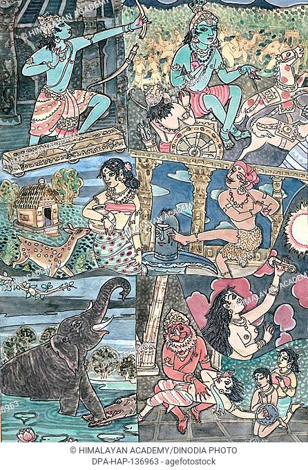 Dancing with shiva , rama , sita , bow , krishna , arjuna , kannappan , eye , kannagi , madurai , vishnu , narasimha , gajendra , mareecha , golden deer
