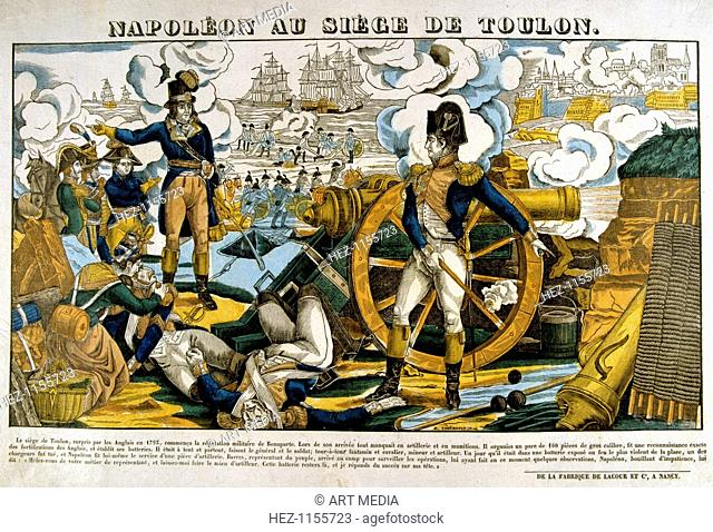 'Napoleon at the Siege of Toulon', 1793, (19th century). The major port of Toulon was anti-revolutionary and on 28 August 1793