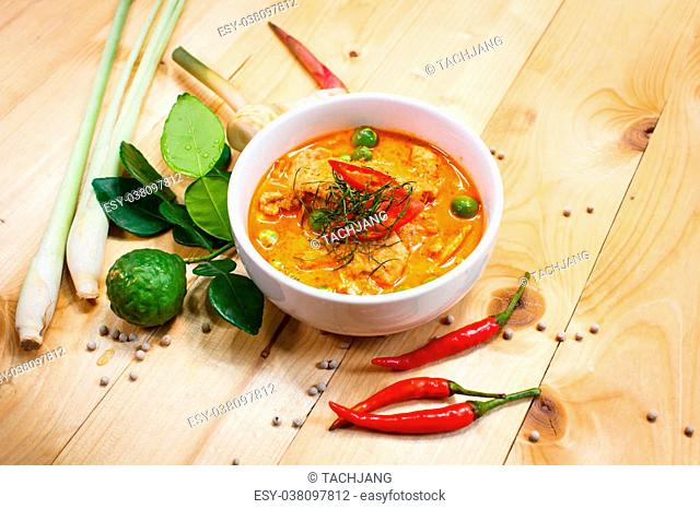 Panang pork, savory curry paste with pork and coconut milk