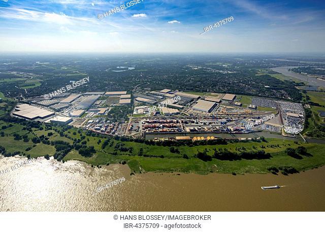 Aerial view, Logport in Rheinhausen am Rhein with Container Terminal and Rhine flood, Duisburg, Ruhr district, North Rhine-Westphalia, Germany