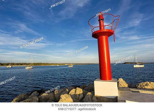 harbor entrance, Colònia de Sant Jordi port, Ses Salines, Majorca, Balearic Islands, Spain