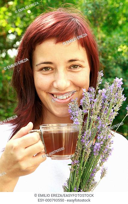 Girl and lavender infusion Lavandula officinalis