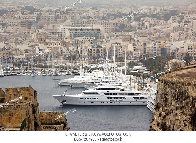Malta, Valletta, Ta'Xbiex, Lazaretto Creek yacht basin, seen from St  Michael's Bastion, elevated view