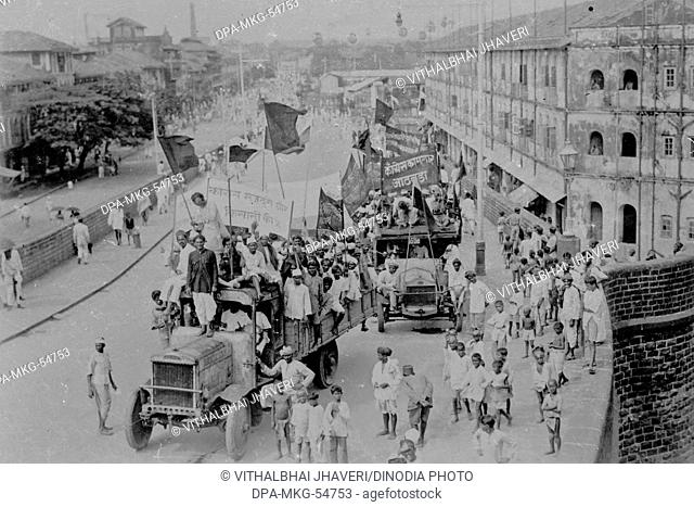 congress labour demonstration on truck India Asia 1930