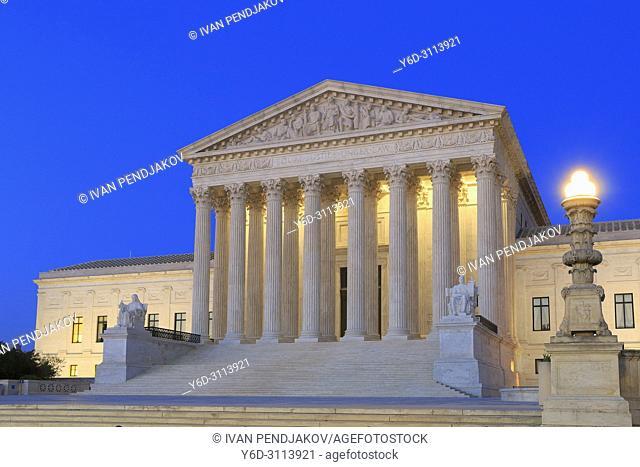 The Supreme Court Building at Dusk, Washington D. C. , USA