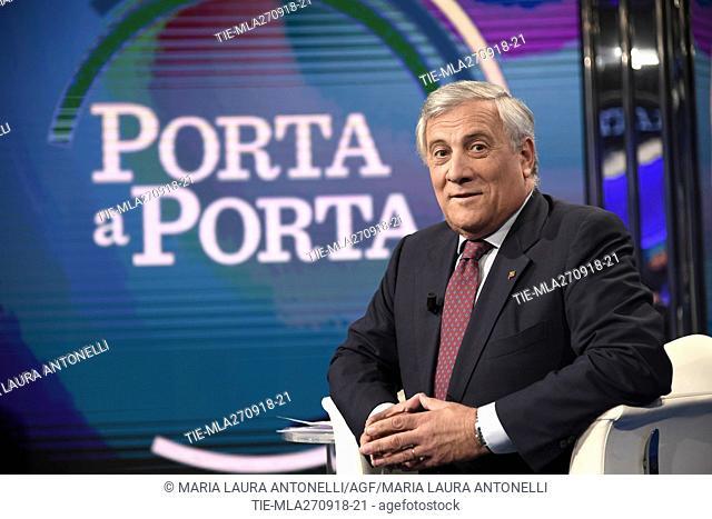 The President of European Parliament Antonio Tajani during the tv show Porta a porta, Rome, ITALY-26-09-2018