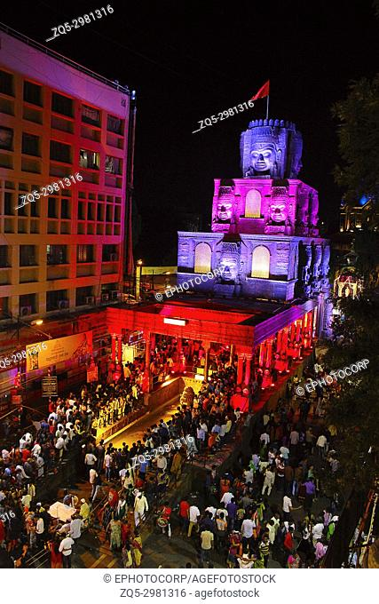 Aerial night shot of decorated pandal based on theme of Angkor temples, Cambodia, Pune