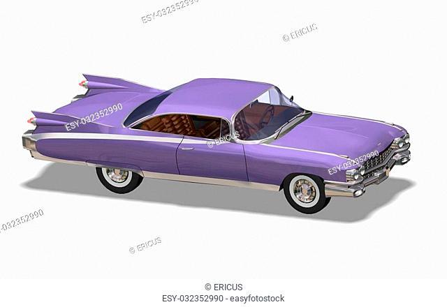 3D purple vintage automobile white background
