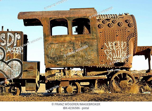 Rusted locomotive, Cementerio de Trenes train cemetery, Uyuni Municipality, Department of Potosi, Altiplano, Vysocina Region, Bolivia