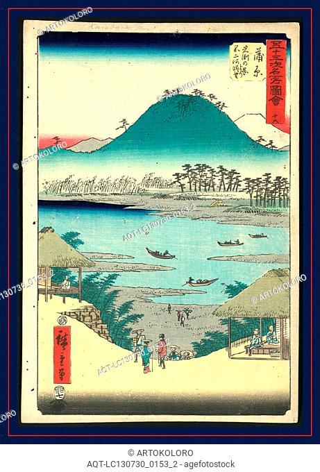 Kanbara, Ando, Hiroshige, 1797-1858, artist, [ca. 1855], 1 print : woodcut, color ; 36 x 24.7 cm., Print shows a bird's-eye view of Kanbara