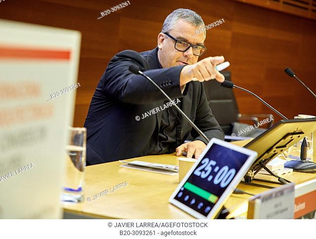 Congress moderator controlling the time, Kursaal Congress Palace, Donostia, San Sebastian, Gipuzkoa, Basque Country, Spain, Europe