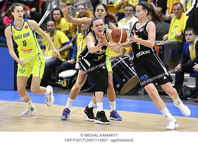 L-R Veronika Vorackova of USK, Anete Steinberga of Braine, Marta Xargay of USK and Antonia Delaere of Braine in action during the 7th round group A of women's...