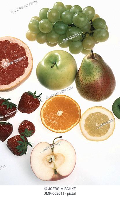 Grapes, apple, pear, lemon, banana, strawberry, grapefruit, melon