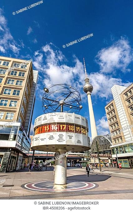 World clock and television tower, Alexanderplatz, Berlin-Mitte, Berlin, Germany