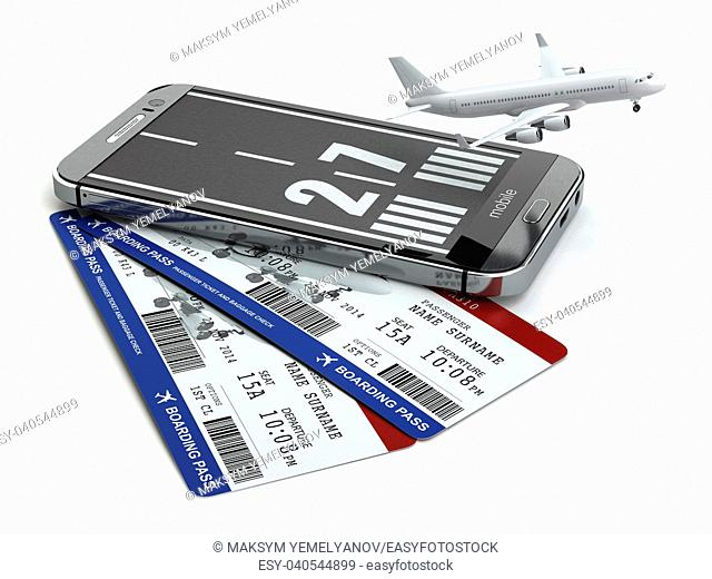 Buying airline tickets online concept. Smartphone or mobile phone with runway, airplane and boarding pass. 3d