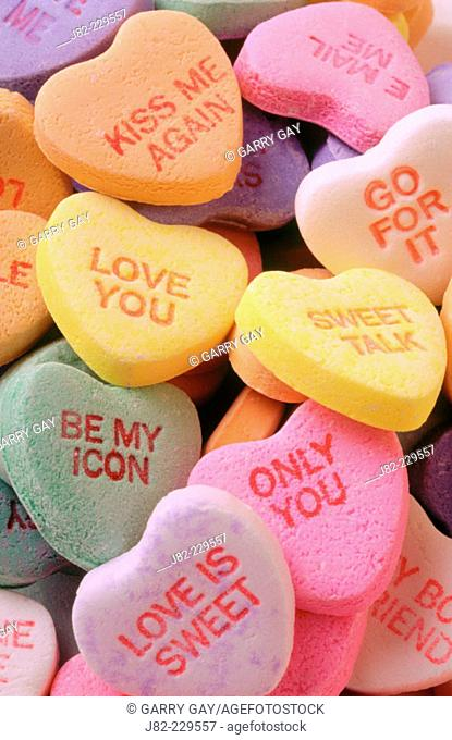 Valentine candy hearts with messages on them