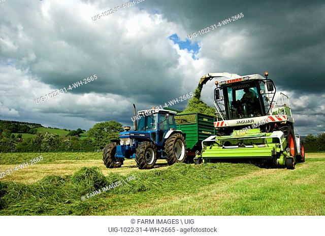 Silaging with a self propelled harvester under stormy sky. (Photo by: Wayne Hutchinson/Farm Images/UIG)