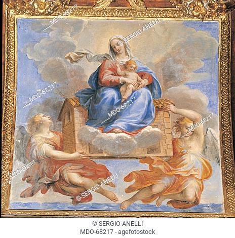 Madonna of Loreto, by Allegrini Francesco, 17th Century, fresco. Italy; Umbria; Perugia; Gubbio; Cathedral; . All. Madonna Loreto throne clouds light blue/azure...