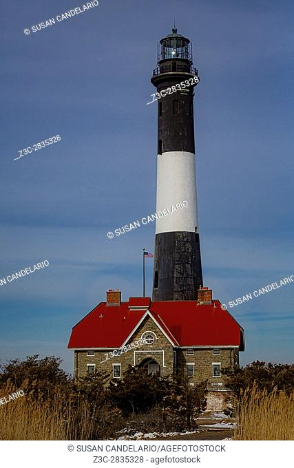 Fire Island Lighthouse is a visible landmark on the Great South Bay, in southern Suffolk County, New York on the western end of Fire Island