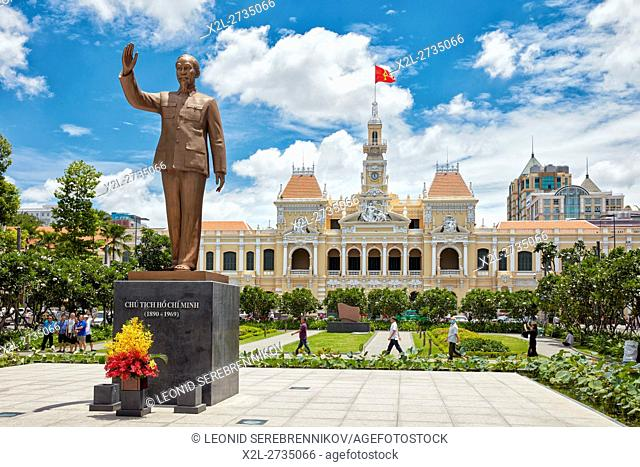 Ho Chi Minh Statue in front of People's Committee Building. Ho Chi Minh City, Vietnam