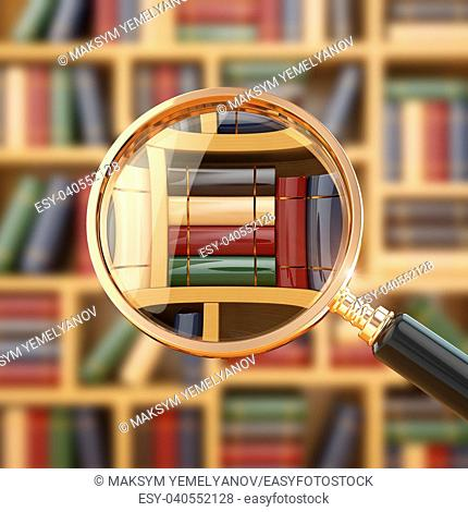 Searching in library. Loupe and books. 3d