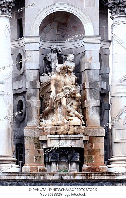 Plaça d'Espanya - Plaza Espana, front of monumental fountain by Josep Maria Jujol, Sants-Montjuïc district, Barcelona, Catalonia, Spain, Europe