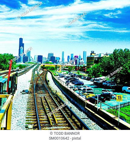 Downtown Chicago viewed from Cermak/Chinatown CTA Red Line station