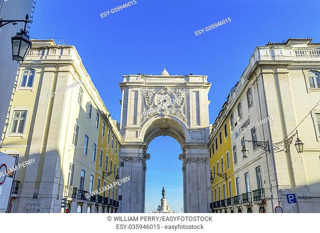 Rua Augusta Arch King Jose Statue Baixa Praca de Comercio Palace Square Lisbon Portugal. Arh created 1755 to commemorate city's reconstuctrion under1755...