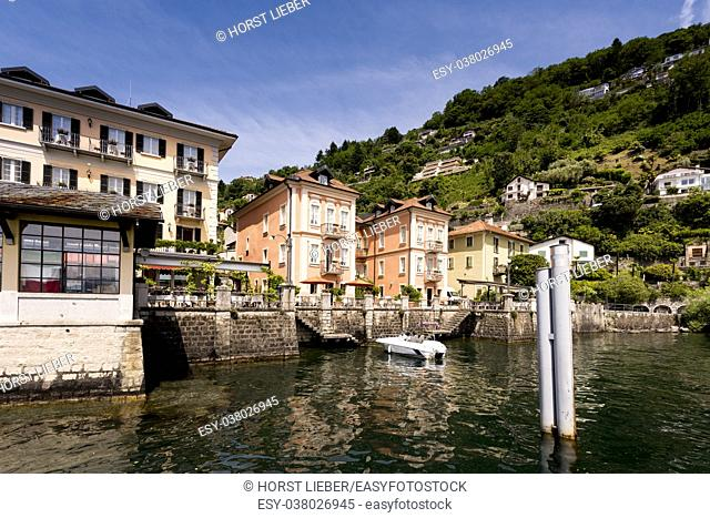 The pier and houses of Cannero Riviera - Cannero Riviera , Lake Maggiore, Lombardy, Italy, Europe